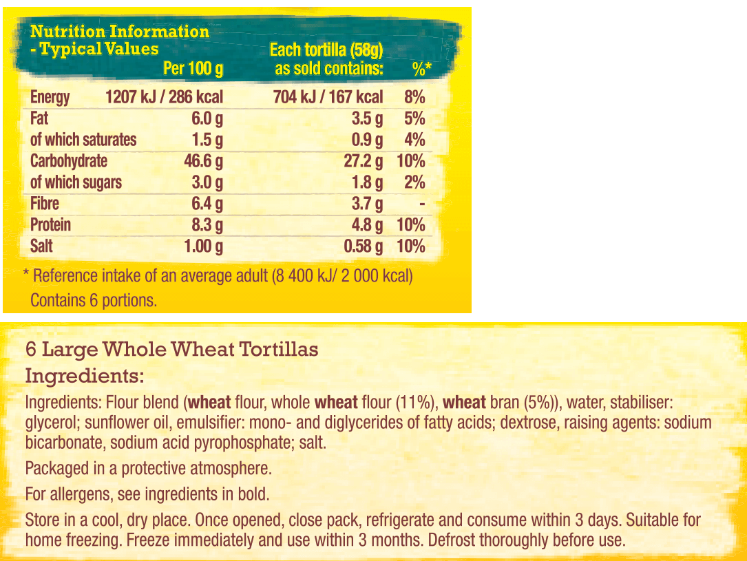 wholewheat large tortillas nutrition