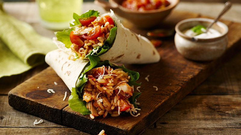 super easy shredded chicken burritos