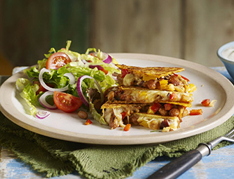 vegetarian quesadillas with spicy beans and cheese