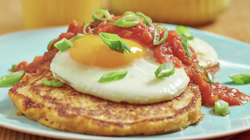 Spring Onion and Corn Pancakes with Fried Eggs