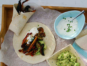 barbecue vegetable fajitas