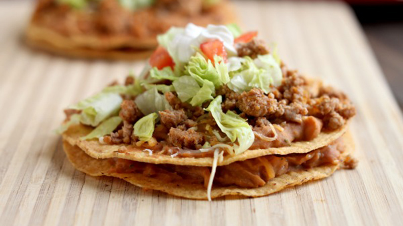 beef and baby corn tostada
