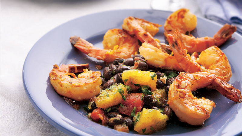 calypso prawns with black bean citrus salsa
