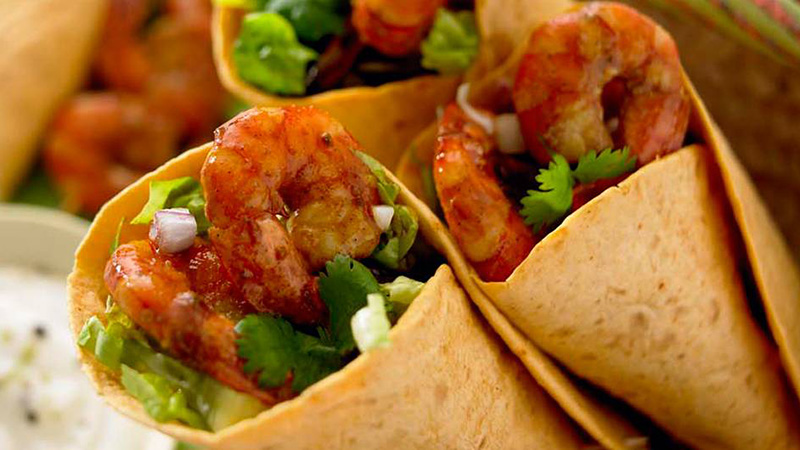 chilli lime prawn burritos with sour cream