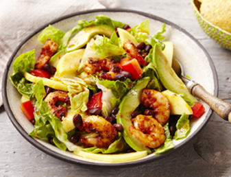 prawn and mango taco salad