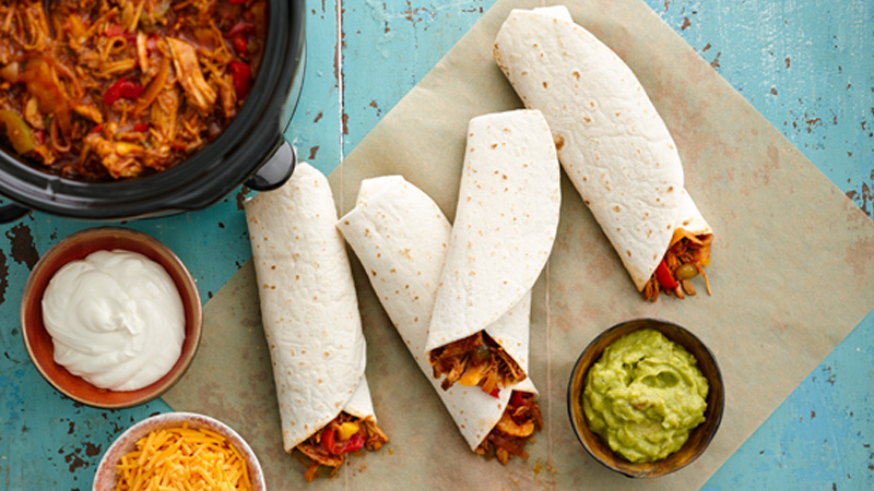 Slow Cooker Barbecued Pulled Pork Fajitas