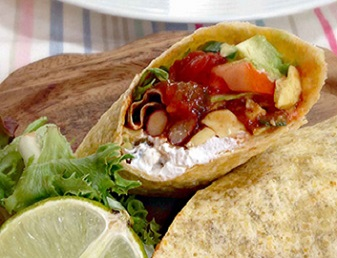 spicy mexican bean wrap